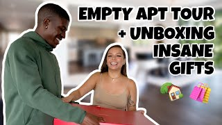 **EMPTY APARTMENT TOUR** + UNBOXING INSANE HOUSEWARMING GIFTS