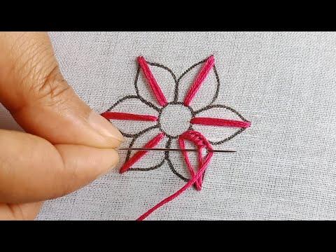 Hand Embroidery Flower Design,Needle Point art,Floral Embroidery Pattern ,সহজে সুন্দর ফুল সেলাই করুন