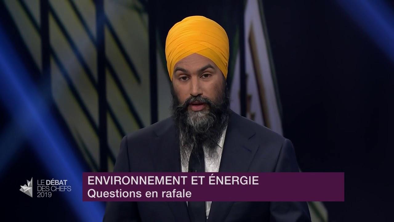 Jagmeet Singh répond à la question du modérateur sur les projets de transport de gaz et pétrole