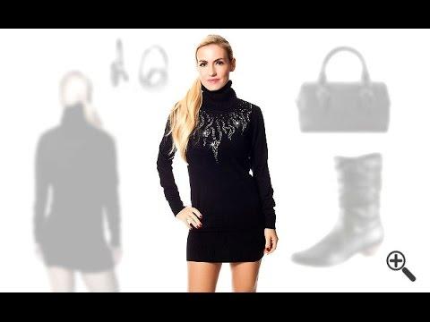 Damen Strickkleid in schwarz mit Langarm und Rollkragen für Janas perfekte Herbst Outfits