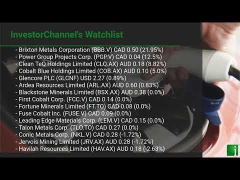 InvestorChannel's Cobalt Watchlist Update for Monday, August 10, 2020, 16:30 EST