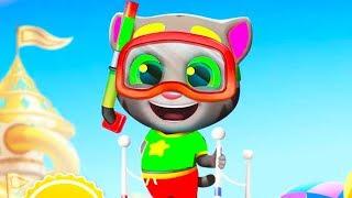 ГОВОРЯЩИЙ ТОМ АКВАПАРК время ФЕЙЕРВЕРКОВ #46 игровой мультик для детей Talking Tom Pool