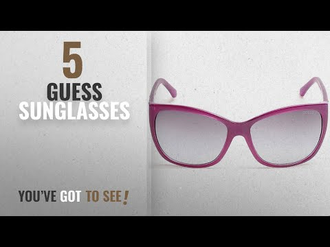 Top 10 Guess Sunglasses [2018]: GUESS Women's Acetate Square/Soft Cat-Eye Rectangular Sunglasses,