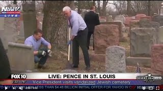Vice President Mike Pence Joins Jewish Prayer, Helps Clean Up Vandalized Jewish Cemetery