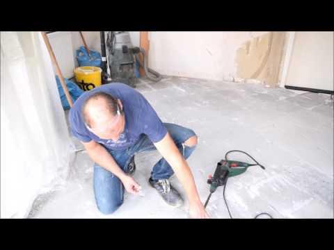 Projekt Küche renovieren  Fliesenkleber mit Meißel entfernen Teil 6