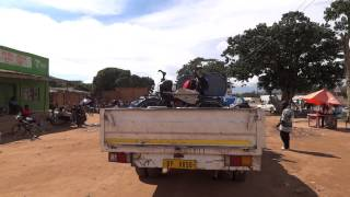 preview picture of video 'Malawi, pushing the truck which will give us a hitchhike across the border into Zambia'