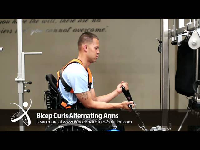 Wheelchair Fitness Solution | Exercise: Bicep Curls Alternating Arms (15 of 40)