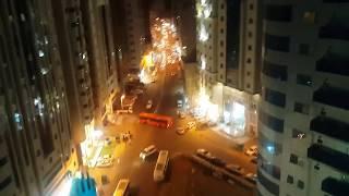В Мекке обзор с высоты гостиницы в ночное время
