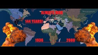 Always War, 144 Years LONG! 1936 - 2080, Hearts Of Iron 4, Timelapse