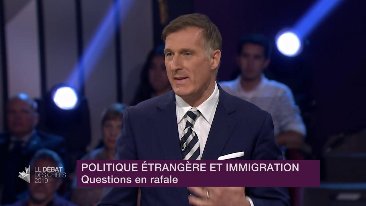 Maxime Bernier répond à la question du modérateur sur le rôle du Canada dans le monde