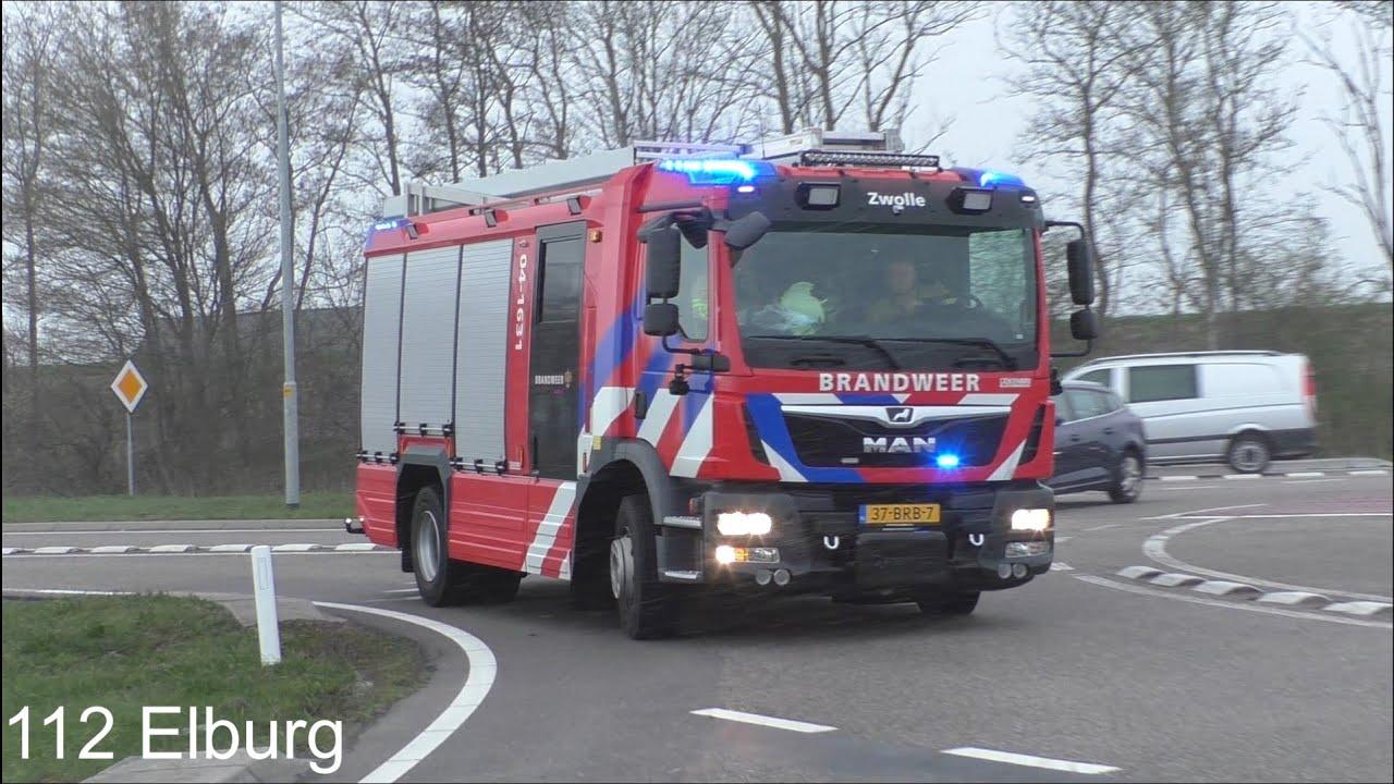 [2x PRIMEUR] P1 Brandweervoertuigen IJsselland met spoed naar een zeer grote brand in Hasselt