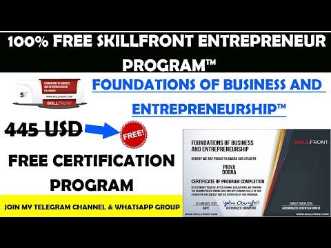 FREE SkillFront Business and Entrepreneurship Certification ...