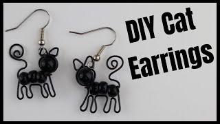 DIY Beaded Cat Earrings Wire Jewelry Tutorial