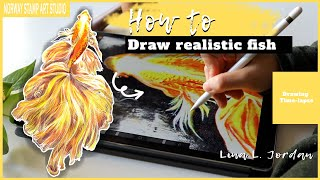 How to draw realistic fish-Ipad procreate tutorial-Digital drawing- Fish of hope【DRAWING TIME-LAPSE】