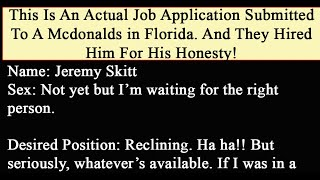 Man Fills Out Hilarious Mcdonald's Application And They Hire Him On The Spot