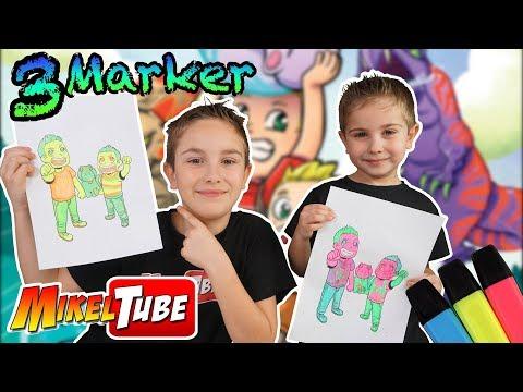 3 Marker Challenge con dibujos del Cómic MikelTube
