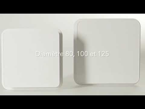 Bouche extra-plate Design. Volets orientables. Manchette à griffes D80 mm.