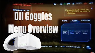 The DJI Goggles Menu Walk Though and Info Review