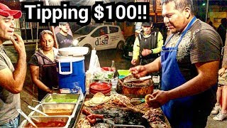 $100 dlls Tips In MEXICO - GIVING BACK - Mexican Street Food