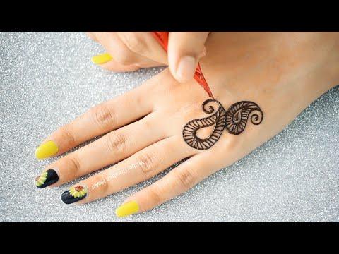 latest stylish back hand mehndi design by creative heart