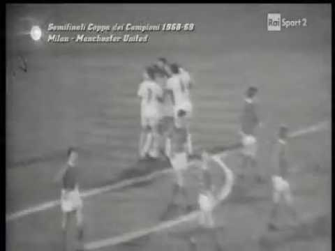 ECCC 1968-69. Semi-finals. AC Milan - Manchester United - 2:0. Highlights.