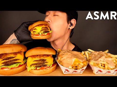 ASMR TRIPLE CHEESEBURGERS & ANIMAL STYLE FRIES MUKBANG (No Talking) EATING SOUNDS | Zach Choi ASMR