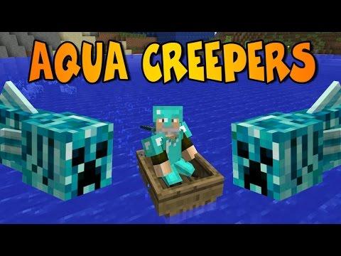 CREEPERS ACUÁTICOS!!   AQUA CREEPER MOD   Minecraft Mod Review