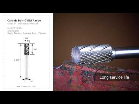 FindBuyTool Carbide Burr SA-3 الأسطوانة بنهاية الخطة OMNI Range Head D 3/8 x 3 / 4L ، 1/4 عرقوب ، 2-1 / 2 بوصة كاملة الطول