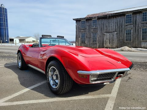 1971 Red Corvette Stingray LT-1 Convertible 4spd Video