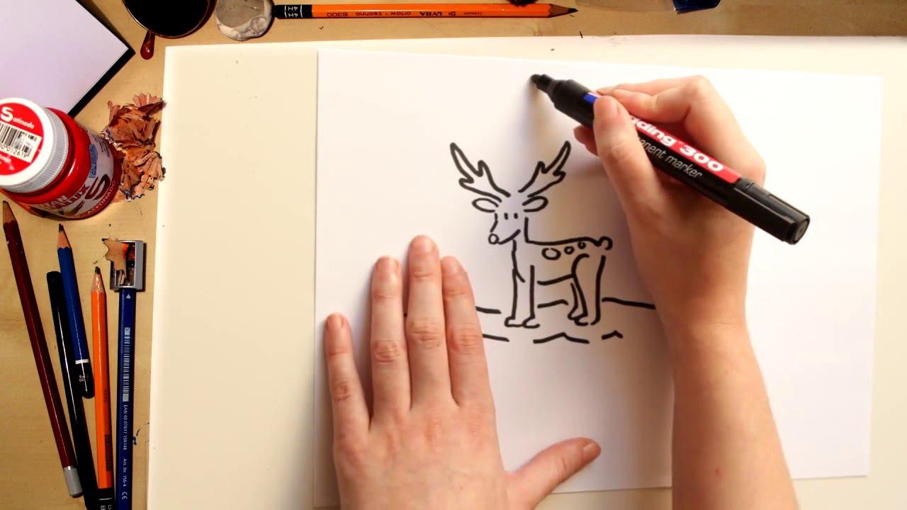 Como desenhar um Reno de Natal - desenhos de Natal para crianças