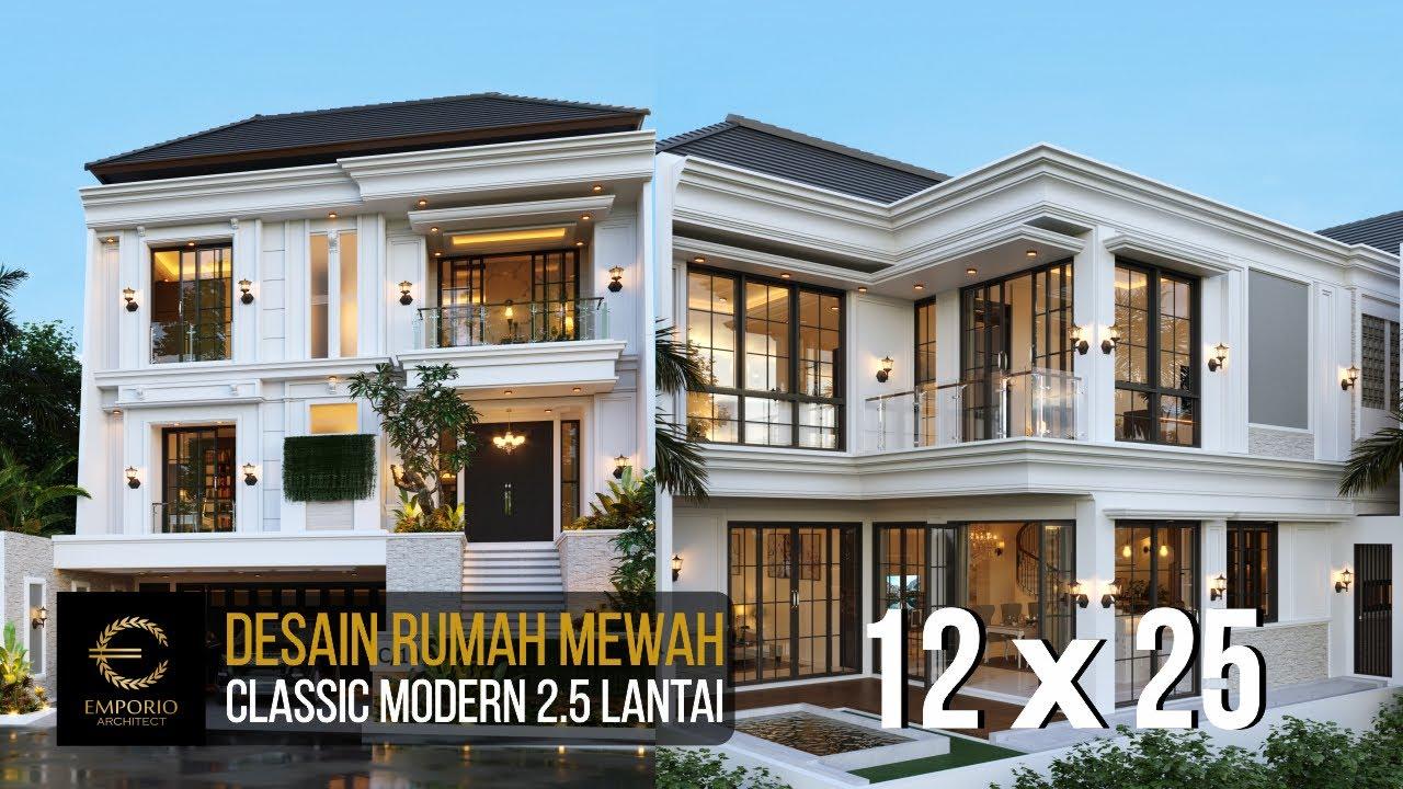 Video 3D Desain Rumah Classic Modern 2.5 Lantai Ibu Chen di Jakarta Barat