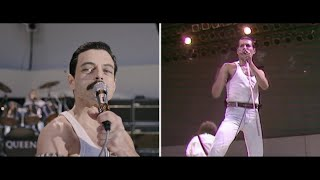 "Bohemian Rhapsody   Live Aid Side By Side: ""We Will Rock You"""