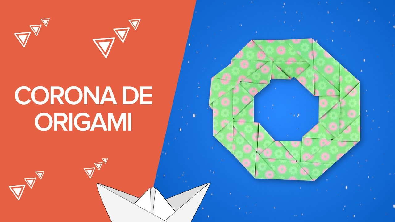 Corona de Navidad de origami | Manualidades de papel