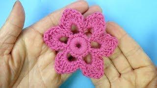 Супер простой Цветок Инландское кружево  Вязаные цветы Урок 103