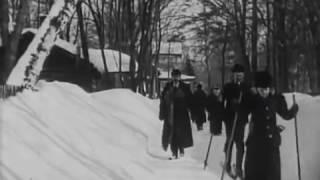 Зимой в Петровском парке  у Путевого дворца, Москва, 1908 г. старинная кинохроника