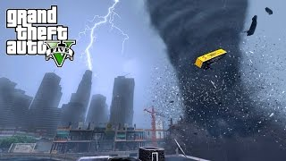 INSANE TORNADO DESTROYS LOS SANTOS - GTA 5 END OF LOS SANTOS MOD
