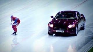 Speed Skater vs Jaguar XK On Ice - Top Gear