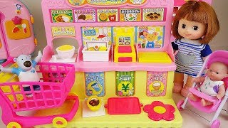 Baby doll friends convenience store play baby Doli story