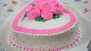 Heart Cake   Valentine Heart Cake Tutorial   Heart Cake Decorating Video