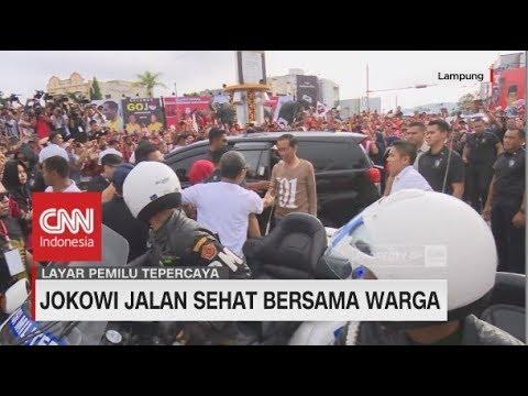 Kampanye ke Lampung, Jokowi Jalan Sehat bersama Warga