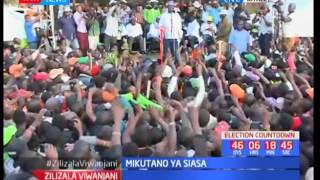 Kitale residents chant anti-Uhuru slogans during NASA Rally