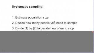 Sampling: Systematic sampling