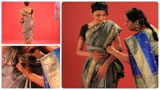 How to wear a Banaras silk saree in Ceylonese dancer style