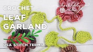 Crochet Leaf Garland 🌿 |  Simple Crochet Garland | Yarn Bomb Idea | Stash Busting!