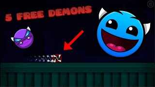 TOP 5 UNKNOWN FREE DEMONS IN GEOMETRY DASH 2020 I EASIER THAN THE NIGHTMARE