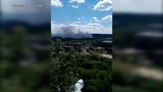 Видео возгорания рядом с химкомбинатом в Алексине