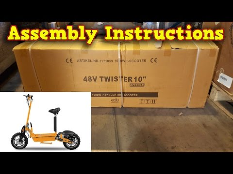 Twister Electric Scooter 1000W 48V - Unboxing - Full Assembly - Instructions - Video