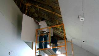 Hanging 4x12 sheetrock on a 25' ceiling