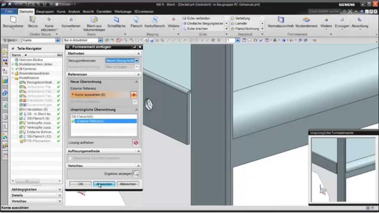 Vorschaubild: NX: Konstruktion eines Gehäuses mit NX Blech