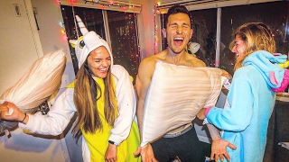 The ULTIMATE ADULT SLEEPOVER (epic pillow fight) | Yes Theory
